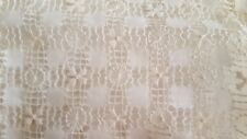 Antique white Irish celtic linen TENERIFE hand work tablecloth 30 x 32 vtg B
