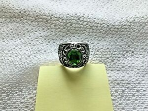 Silver Tone Green Baseball Hall of Fame AYB Little Majors Cooperstown Ring Sz 11