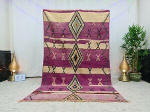 """Moroccan Vintage Boujaad Handmade Wool Rug 5'4""""x9"""" Berber Geometric purple Rug"""