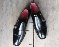 Handmade Men's Black Leather Double Monkstrap Shoes
