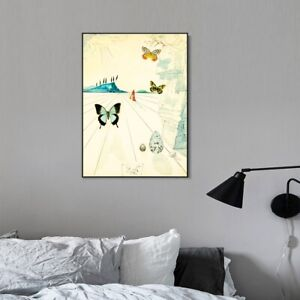 Framed Canvas Papillons,1950 by Salvador Dali Wall Art Office Decorations