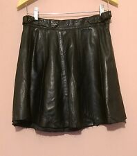 VINTAGE Black Genuine Leather Motorcycle Grunge Goth Skater Mini Skirt -  M 12