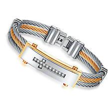Men 12MM Silver Gold Stainless Steel Wire Bracelet Boy Jesus Cross Zircon Bangle