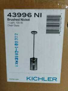 Crosby 1-Light Brushed Nickel Mini Pendant Light with Clear Glass by KICHLER