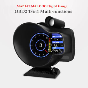 1PC OBD2 18in1 Tachometer Speed Water Temp Voltage Air MAP MAF ODO Digital Gauge