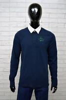 Polo Uomo BACI & ABBRACI Taglia M Maglia Shirt Manica Lunga Maglietta Cotone Blu