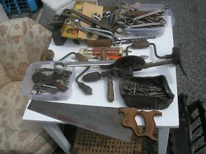Collection job lot vintage engineering & woodworking tools  spanners etc