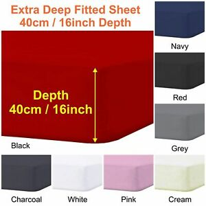 """Extra Deep 40cm/16"""" Fitted Sheets Poly Cotton Single 4FT Double King Bed Sheets"""