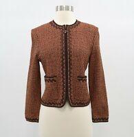 St. John Blazer Womens Cardigan Sweater Sz 2 Santana Knit Brown Full Zip