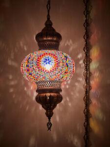 Turkish Moroccan Mosaic PLUGIN Ceiling Hanging Tiffany Pendant Light Fixture
