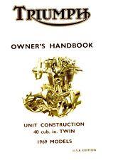 99-0876  Triumph Owners Handbook Bonneville Tiger Trophy 650 T120 TR6 1969 USA