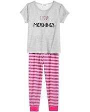 Family Pajamas Girls I Love Mornings Pajama Set Pink Thin Stripe 2T-3T