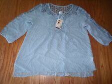NWT Womens BILA SHIRT TOP BLOUSE PEASANT SKY BLUE LACE MEDIUM M $52