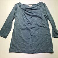 LOFT Blue Silver Metallic Stripe 3/4 Sleeve Top Size Medium A1202