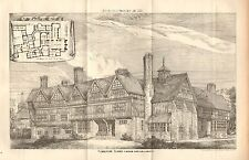 1876 LARGE ANTIQUE ARCHITECTURAL PRINT- PIERREPOINT, SURREY