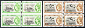 TURKS & CAICOS ISLANDS 1955 DEFINITIVES SG235/236 BLOCKS OF 4 MNH