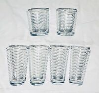 Crate & Barrel Drinking Glass Tumbler Sets WAVY (See Selections)