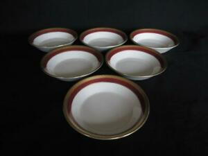 Coalport Elite - Ruby Pattern 6 x Small Bowls 5 inches diameter