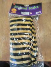 Striped Socks Black & Yellow Stockings Costume Accessory Adult Halloween