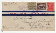 1931 GUATEMALA TO FRANCE AIRMAIL COVER, SCARCE FRANKING, HIGH VALUE !!