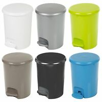 Plastic 5 Litre Pedal Operated Waste Dustbin Rubbish Bin Bathroom Kitchen Toilet
