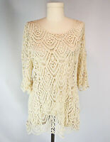 Grace & Lace Crochet Tunic Top XL See Through Cover-Up Swag Scallop Design
