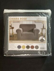 """NEW Chiara Rose Jacquard Stretch GRAY Chair Slipcover 96""""x23"""" Protect from Pets"""