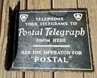 Postal Telegraph Porcelain Flange Sign Telephone Telegrams Operator Rare