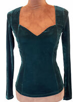 Ginatricot Green  Velvet Sweatheart Neck  Fitted Blouse Jumper Size Xs