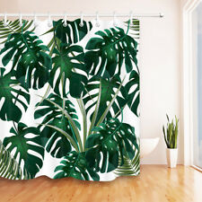 Tropical Plants Green Leaves Monstera Design Polyester Fabric Shower Curtain Set
