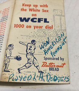 "VTG 1959 Chicago White Sox Schedule ""World Series Year"" Butternut Bread WCFL See"