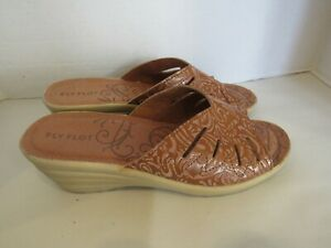 Fly Flot - Italy Women's Brown? Leather Slide Wedge heel Sandals Size 40 US 8