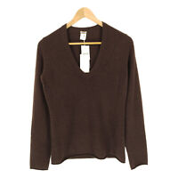 J Crew Cashmere Sweater S Women's Long Sleeve Pullover Solid Brown V-Neck