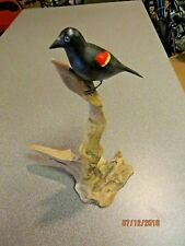 Hand carved hand painted Red Winged Blackbird songbird,artist signed Eckstein