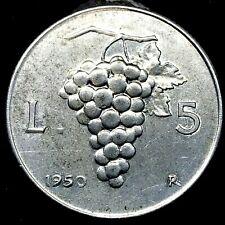 ITALY, 1950-R, 5 LIRA, ALUMINUM,  CHOICE UNCIRCULATED COIN.