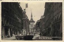 Bern Schweiz s/w Postkarte ~1920/30 Marktgasse mit Zeit Glockenturm ungelaufen