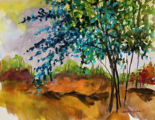 ORIGINAL Tree LANDSCAPE WATERCOLOR  Painting JMW art John Williams Impressionism