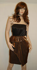 New $365 Cynthia Steffe Elisa Gold Pleated Strapless A Line Cocktail Dress 2
