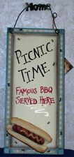 "PICNIC TIME BBQ SIGN Famous BBQ Served Here 5.5"" x 12"" Wood Plaque Country Decor"