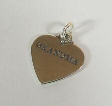 Grandma Charm Corazón Colgante .925 Plata de Ley Hecho en USA