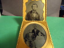 (2) 1/6 Ruby Ambrotype of Young Man & the Other with Siblings in Matting & Frame