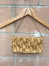 Womens MNG Mango Evening Party Clutch Pouch wallet Gold Chain Strap Animal Print