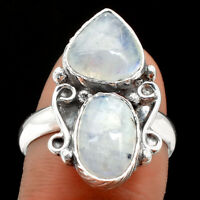 Rainbow Moonstone - India 925 Sterling Silver Ring s.8 Jewelry 0214
