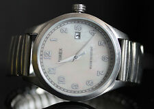 Timex Mens T Series Mother-of-Pearl Dial Stainless Steel Expansion Band Watch
