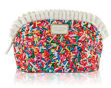 Betsey Johnson Nylon Large Ruffle Sprinkle Pouch Cosmetic Case Bag - Multi