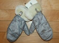 NWT UGG Australia Leather Shearling Mittens Silver Gray S/M L/XL $80