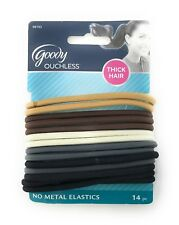 Goody Ouchless No Metal Elastics Thick Hair, 5mm, Brown White Black Gray, 14 Ct