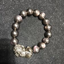 12mm Natural Rainbow Obsidian Jade Agate Stretch Bracelet Chinese Dragon Pixiu
