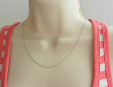 "14K Solid Real White Gold 1.3mm Flat Open Wheat Chain Necklace 20"" for Women"