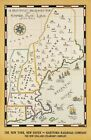 """Vintage Illustrated Travel Poster CANVAS PRINT New York Map New haven 24""""X16"""""""